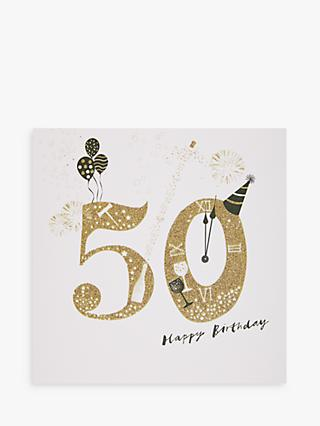 Woodmansterne Party Hat & Champagne 50th Birthday Card