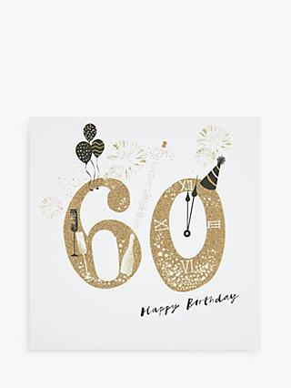 Woodmansterne Party Hat & Champagne 60th Birthday Card