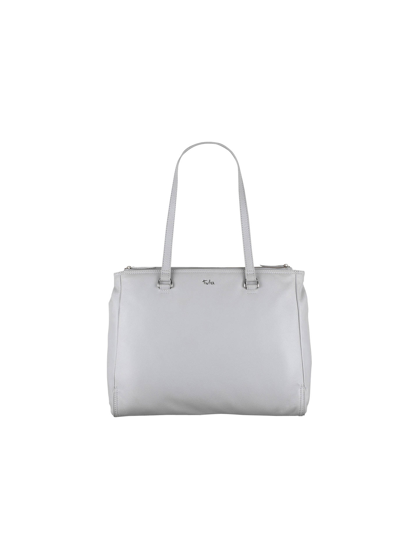 Tula Na Originals Large Leather Zip Top Bag Grey Online At Johnlewis