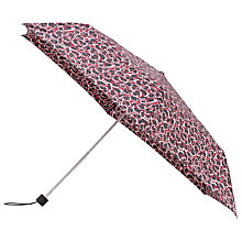 Buy John Lewis Super Slim Telescopic Umbrella, Burgundy/Leopard Online at johnlewis.com