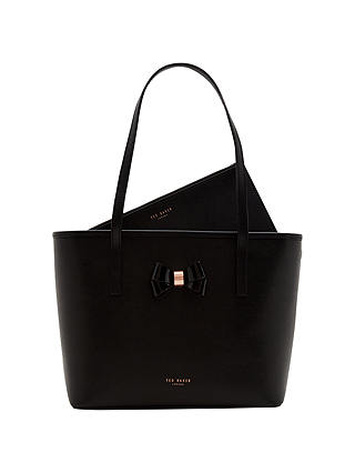 Buy Ted Baker Crosshatch Small Leather Shopper Bag, Black Online at johnlewis.com