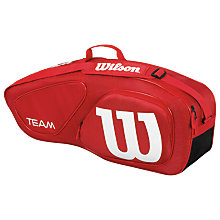 Buy Wilson Team Collection 3 Pack Tennis Bag, Red/White Online at johnlewis.com