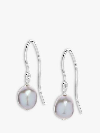 Claudia Bradby Baroque Freshwater Pearl Drop Earrings Silver