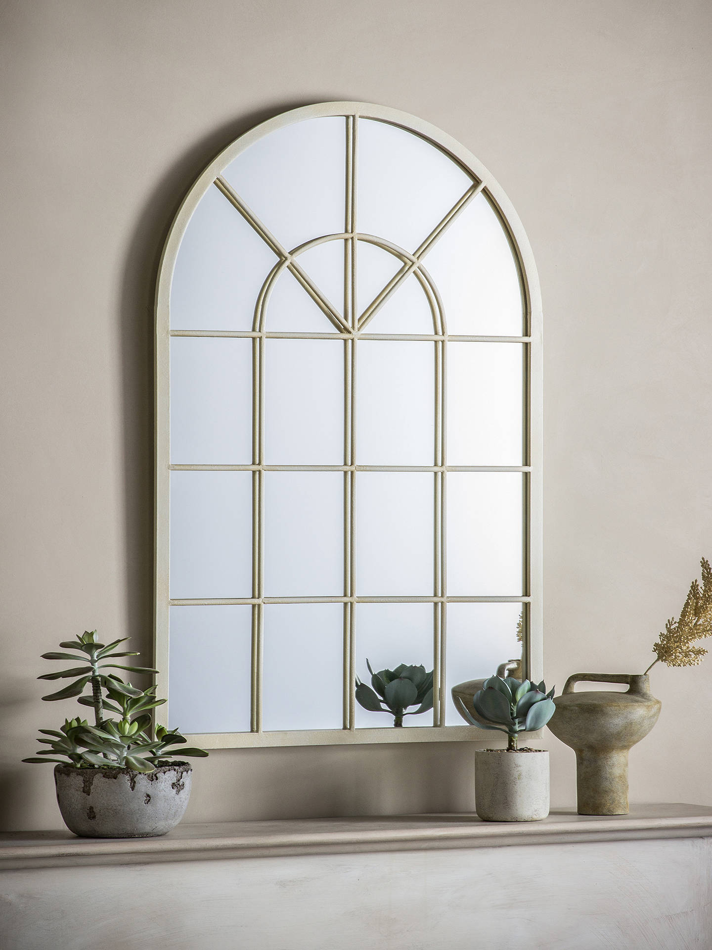 Buy John Lewis & Partners Metal Window Mirror, 90 x 60cm, Cream Online at johnlewis.com