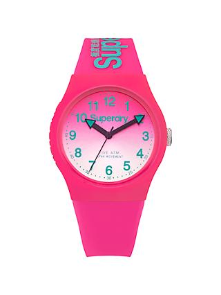 Superdry SYL198PN Women's Urban Laser Silicone Strap Watch, Hot Pink