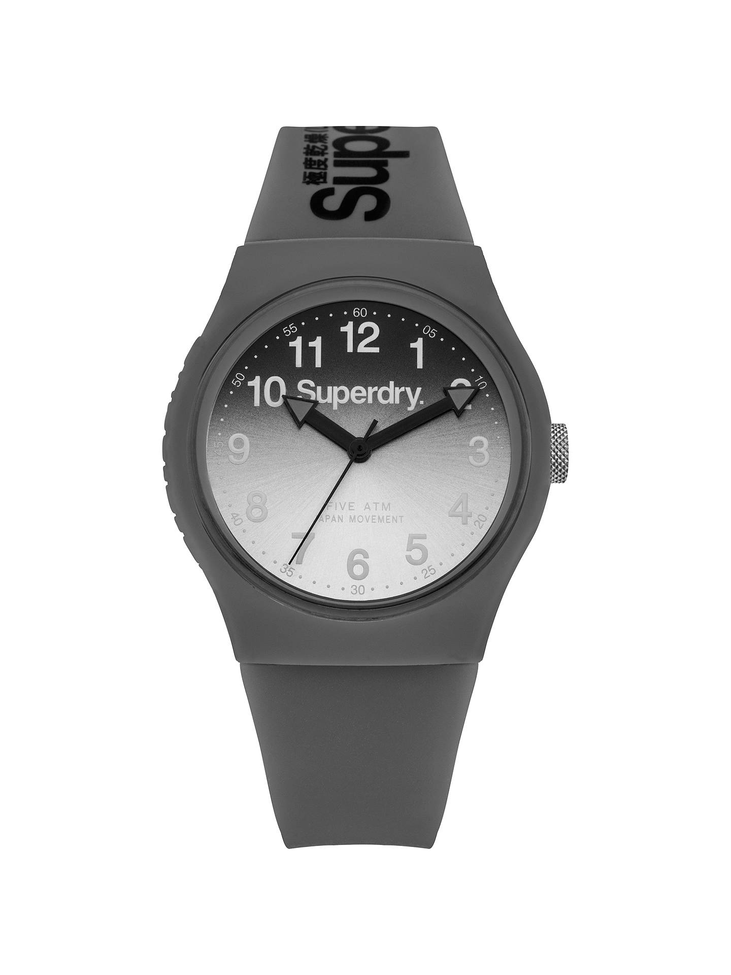 BuySuperdry SYG198EE Unisex Urban Laser Silicone Strap Watch, Grey Online at johnlewis.com