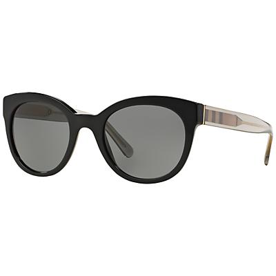 Burberry BE4210 Check Oval Sunglasses, Black