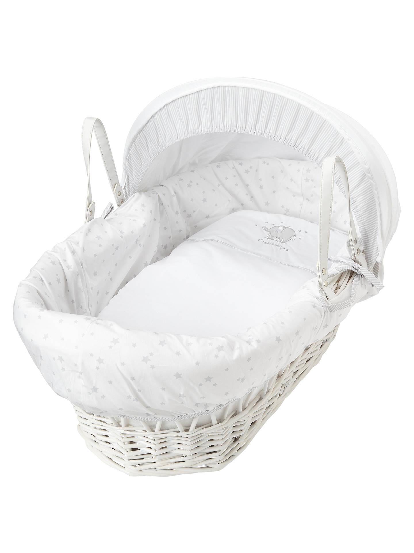 White /& Cream Teddy Moses Basket For New Born Baby Girl Boy Nursery Bed