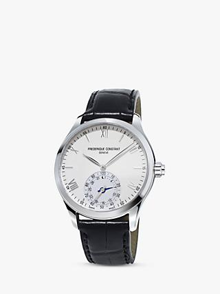Frederique Constant FC-285S5B6 Men's Horological Smartwatch MotionX Leather Strap Watch, Black/White