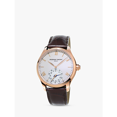Image of Frédérique Constant FC-285V5B4 Men's Horological Smartwatch Leather Strap Watch, Brown/White