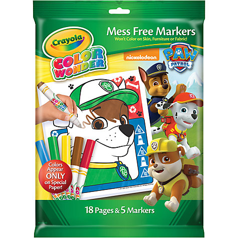 buy paw patrol colour wonder mess free markers online at johnlewiscom - Crayola Color Online