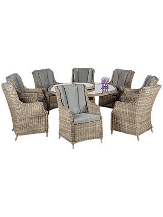 Buy Royalcraft Wentworth 8 Seater Garden Dining Table with Lazy Susan and High Back Chairs Online at johnlewis.com
