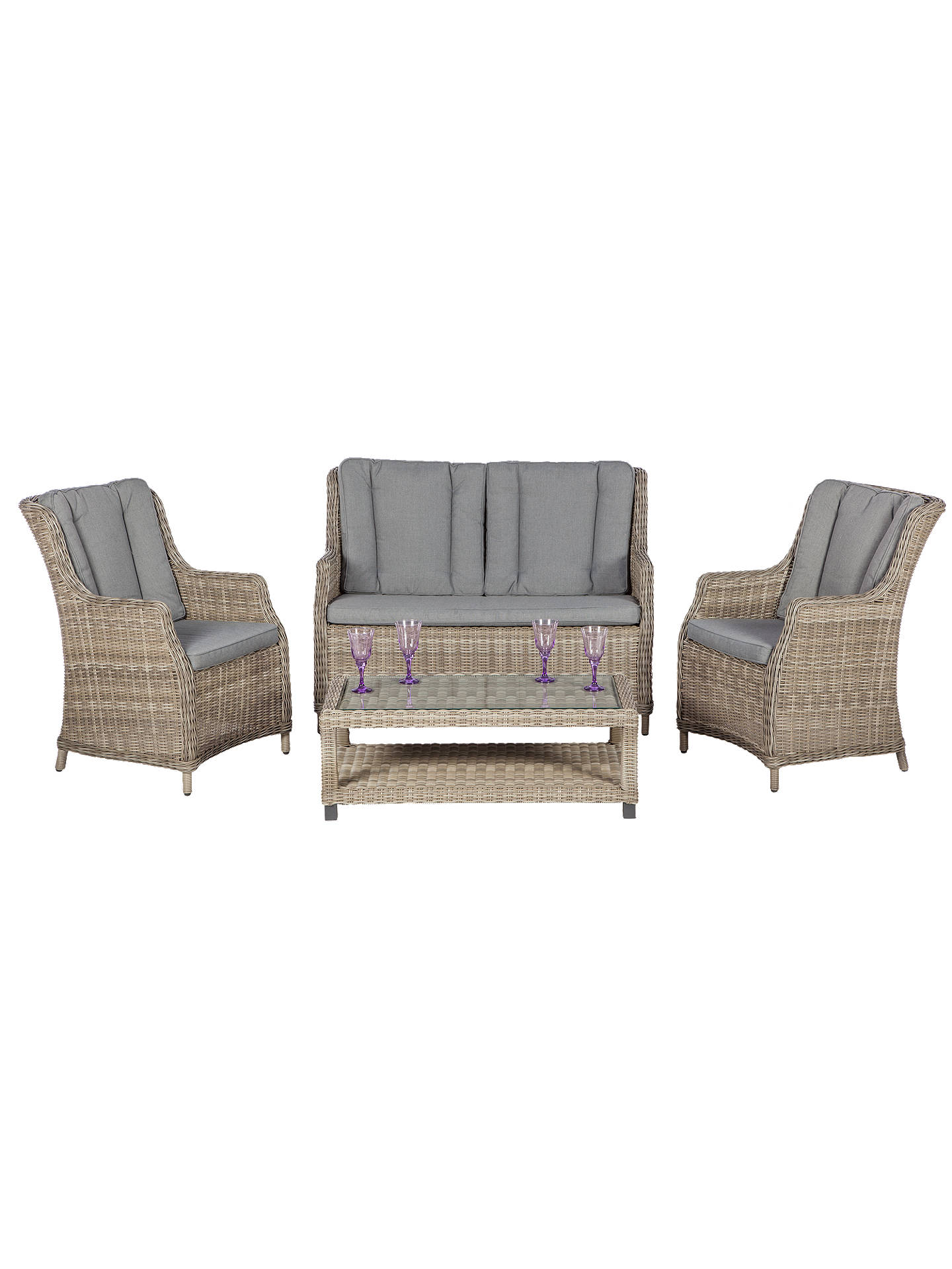 BuyRoyalcraft Wentworth 4-Seater Garden High Back Chairs and Table Lounge Suite Online at johnlewis.com