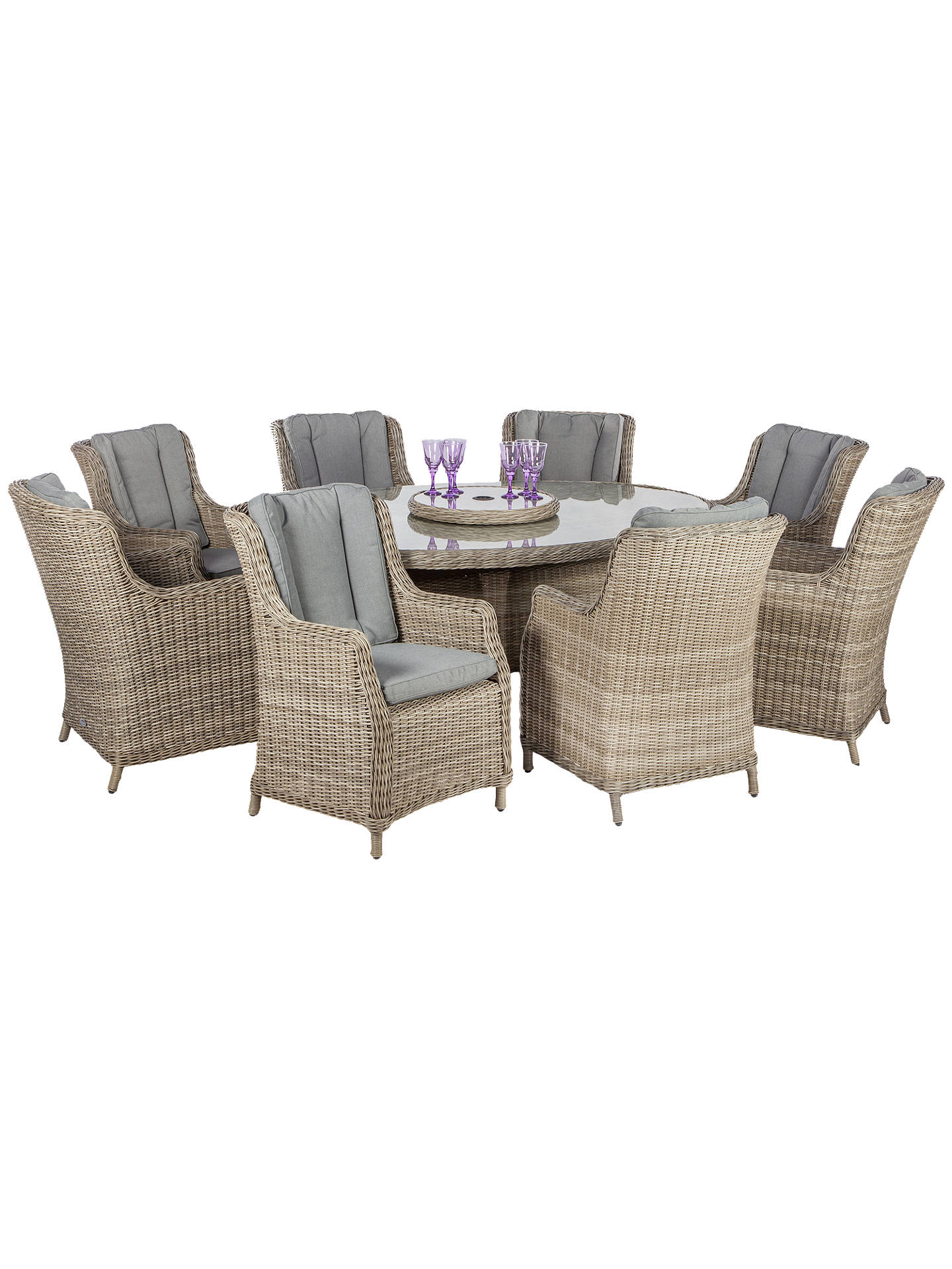 BuyRoyalcraft Wentworth Imperial 8-Seater Garden Dining Table and High Back Chairs Set Online at johnlewis.com