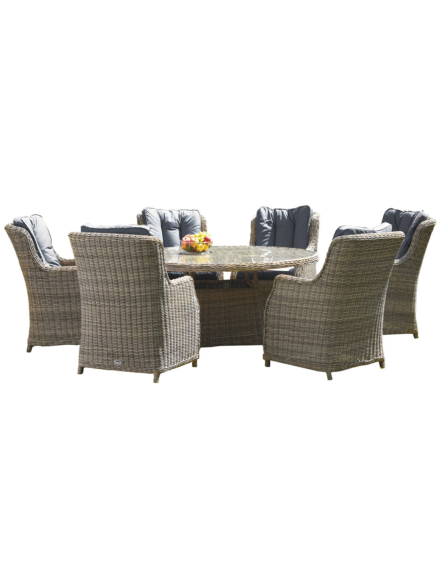 Buy Royalcraft Wentworth 6 Seater Garden Oval Dining Table and High Back Chairs Set Online at johnlewis.com