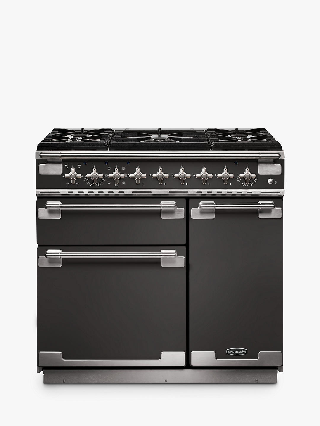 Buy Rangemaster Elise 90 Dual Fuel Range Cooker, Slate/Chrome Trim Online at johnlewis.com