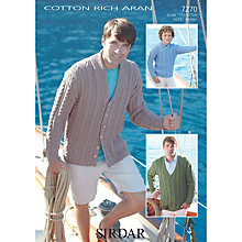 Buy Sirdar Cotton Rich Aran Cabled Jumpers and Jacket Knitting Pattern, 7270 Online at johnlewis.com