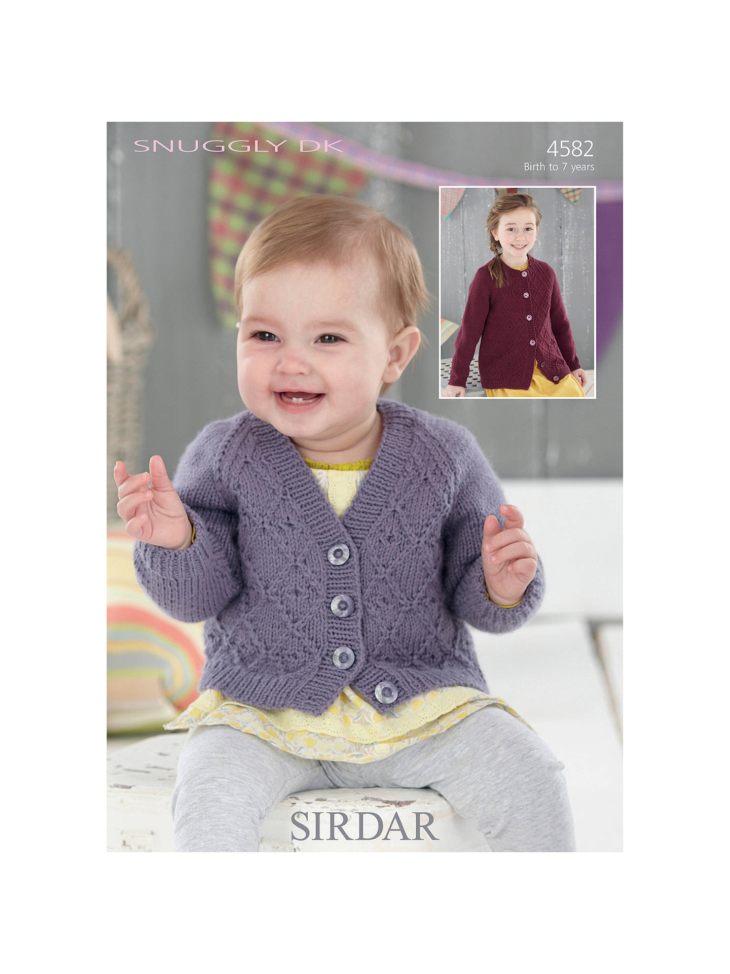 69a8f6e9d BuySirdar V and Round Neck Cardigan Snuggly DK Knitting Pattern