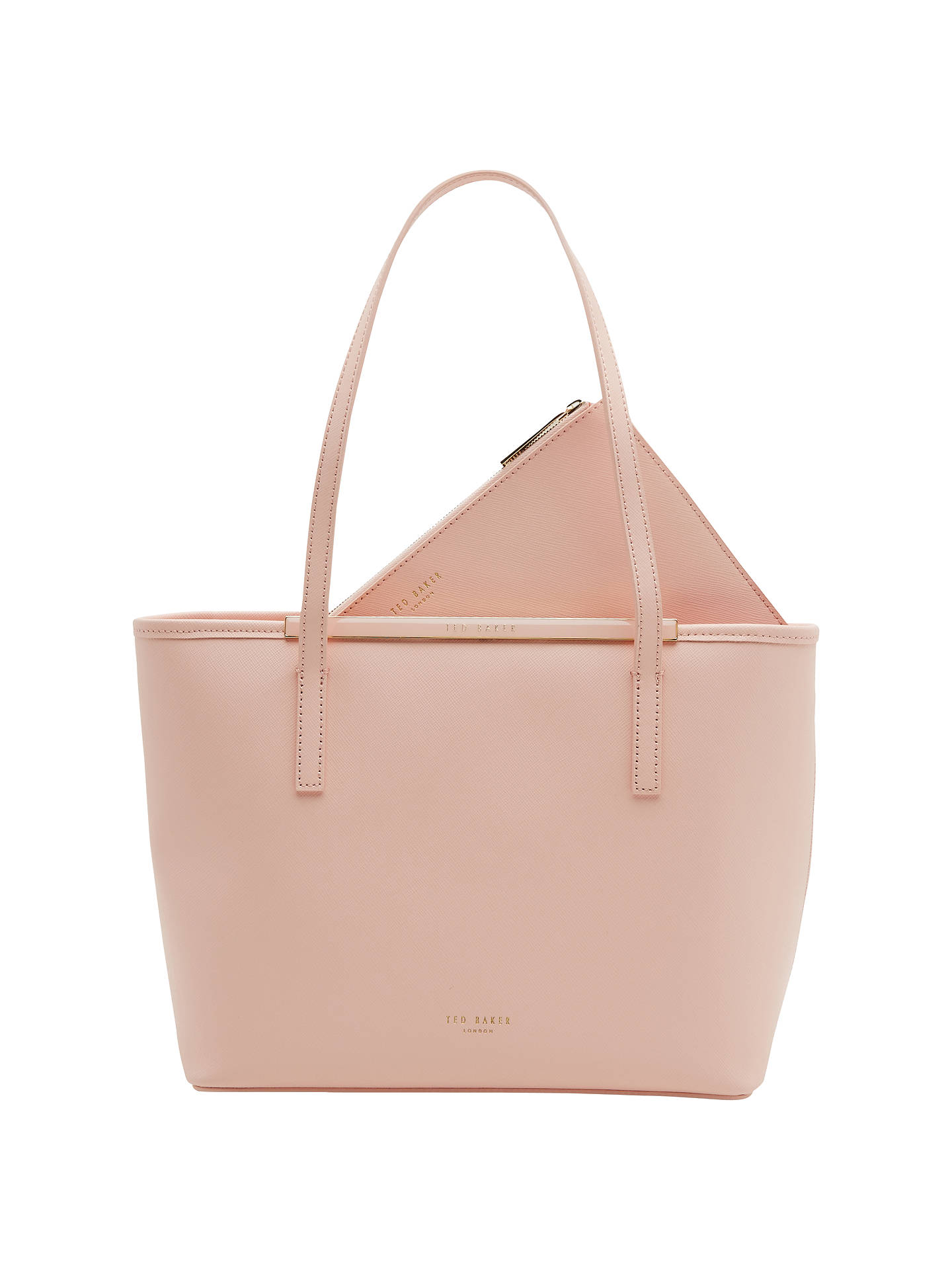 Ted Baker Ammber Small Crosshatch Leather Per Bag Peach Online At Johnlewis