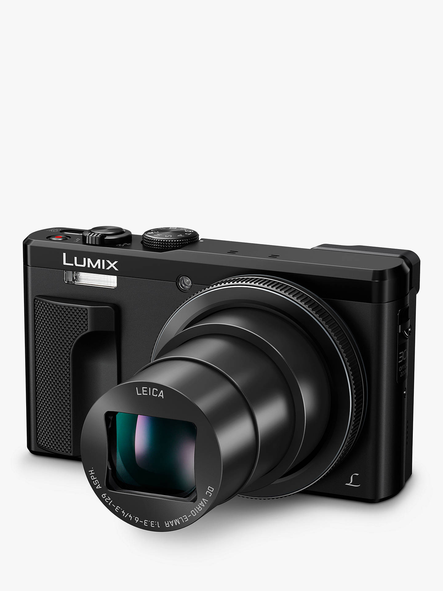 "Buy Panasonic Lumix DMC-TZ80EB Super Zoom Digital Camera, 4K Ultra HD, 18.1MP, 30x Optical Zoom, Wi-Fi, EVF, 3"" LCD Touch Screen, Black Online at johnlewis.com"