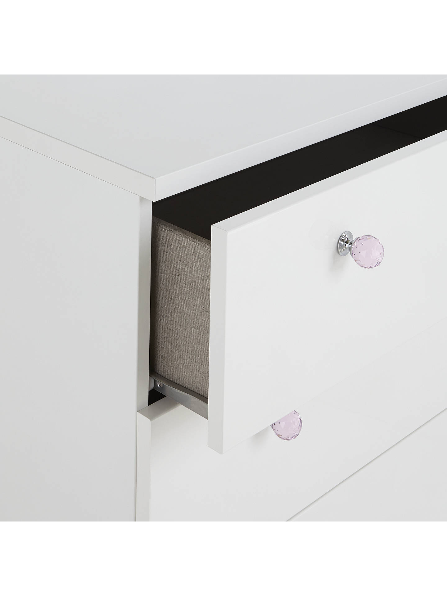 Buylittle home at John Lewis Mix it Pink Crystal Handle Wide 4 Drawer Chest, Gloss White/Matt White Online at johnlewis.com