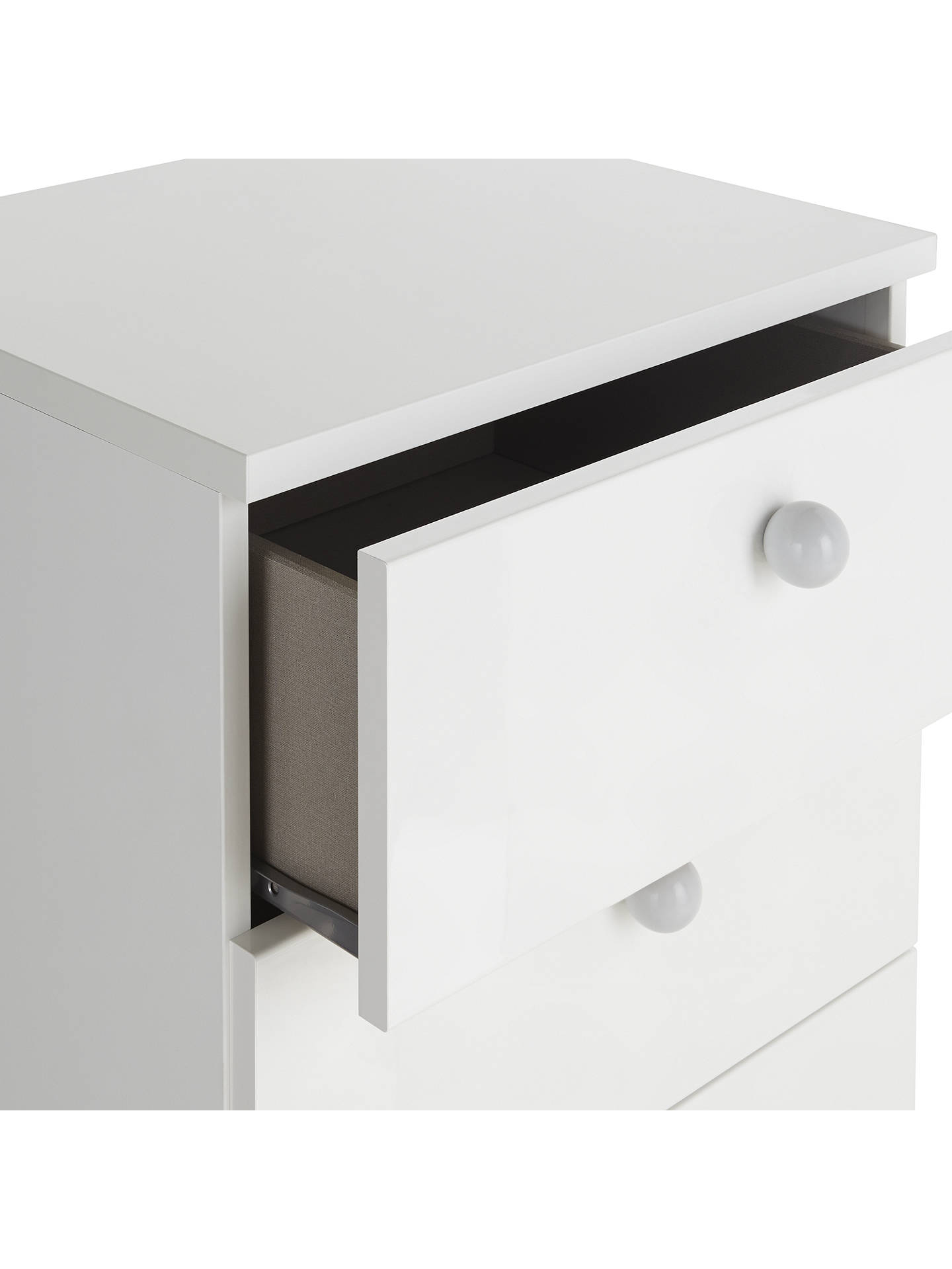 Buy little home at John Lewis Mix it Grey Wooden Handle Narrow 6 Drawer Chest, Gloss White/Matt White Online at johnlewis.com