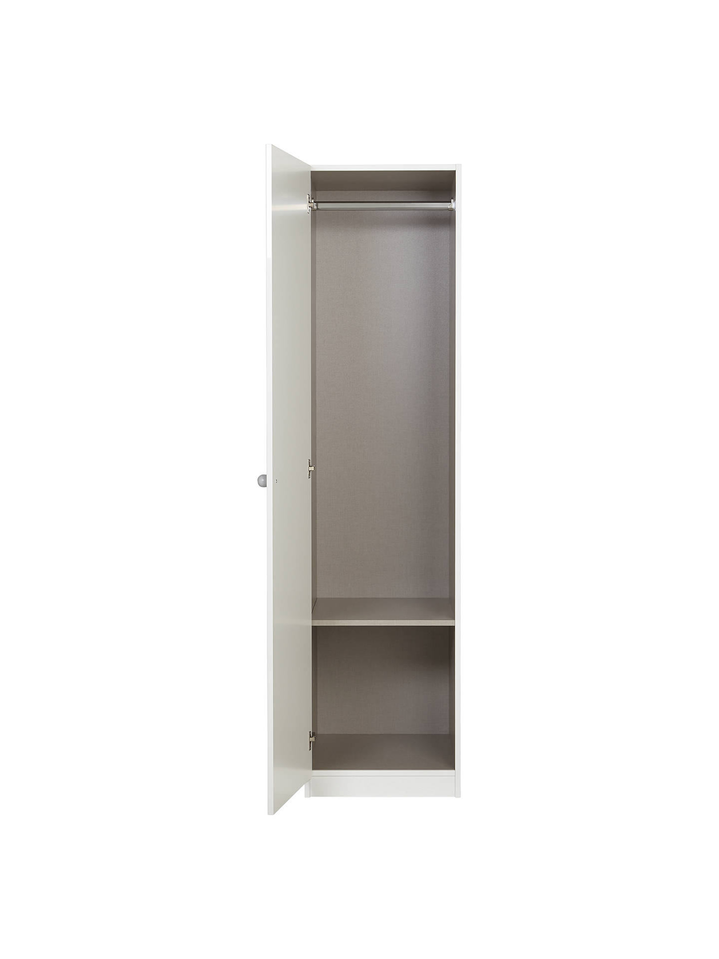 Buy little home at John Lewis Mix it Grey Wooden Handle Single Wardrobe, Gloss White/Matt White Online at johnlewis.com