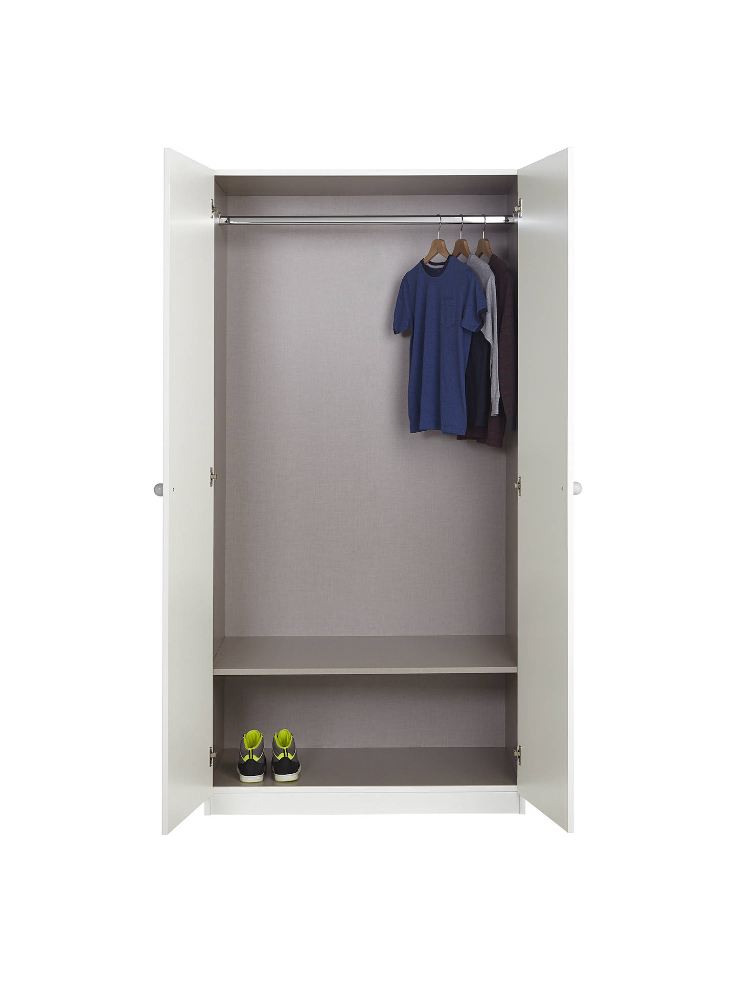 Buy little home at John Lewis Mix it Grey Wooden Handle Double Wardrobe, Gloss White/Matt White Online at johnlewis.com