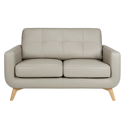 John Lewis Barbican Small 2 Seater Leather Sofa, Light Leg