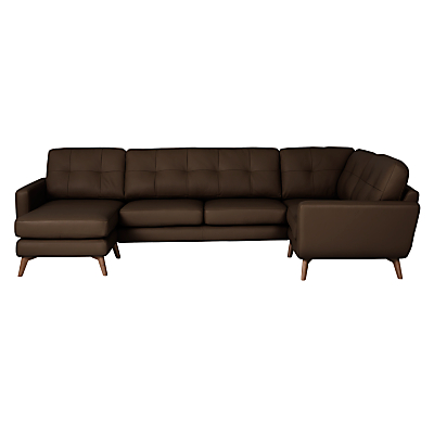 John Lewis Barbican Semi-Aniline Leather LHF Corner End Sofa with LHF Chaise Unit