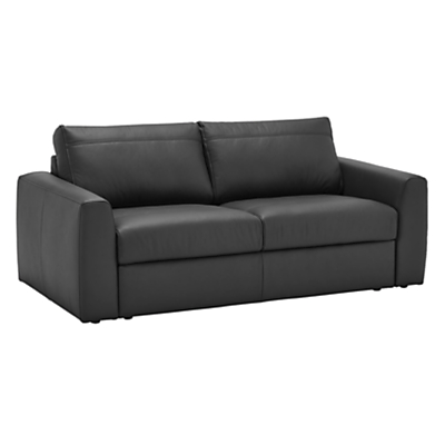 House by John Lewis Finlay II Sofa Bed Leather with Foam Mattress, Madras Black