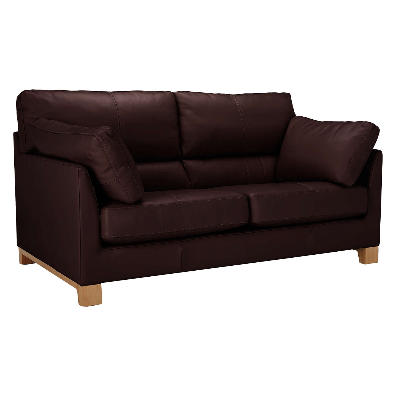 John Lewis Ikon High Back Medium 2 Seater Leather Sofa Nature Brown Online At Johnlewis