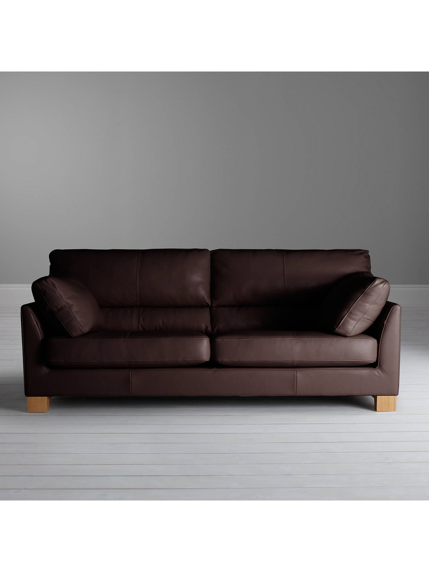 John Lewis & Partners Ikon High Back Grand 4 Seater Leather Sofa, Nature  Brown