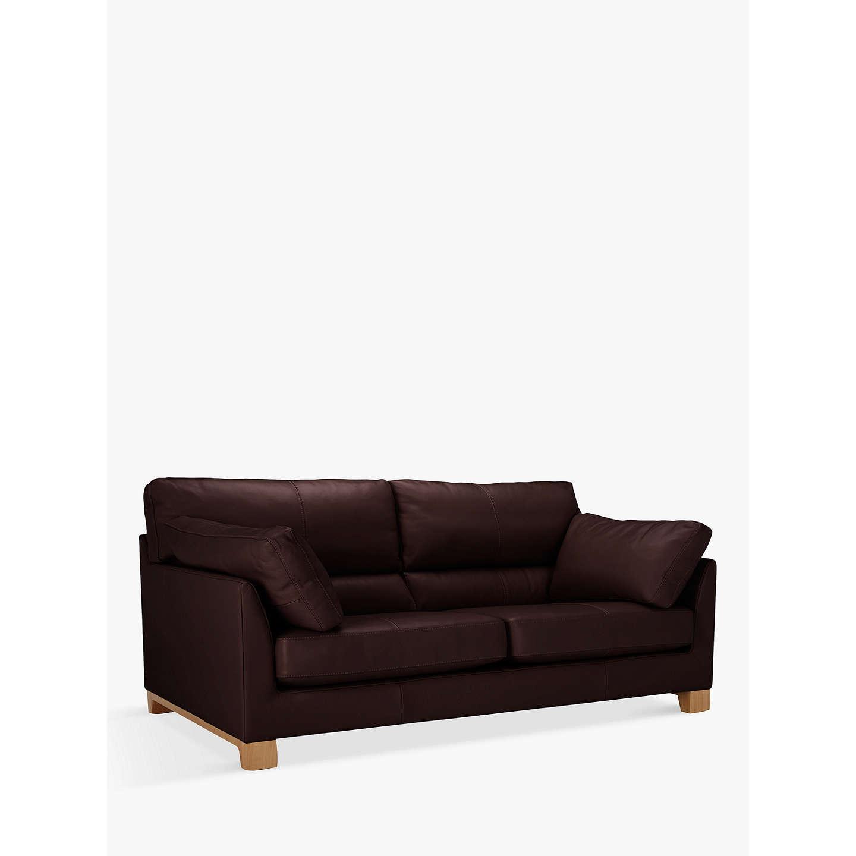 John Lewis Ikon High Back Large 3 Seater Leather Sofa Nature Brown Online At Johnlewis