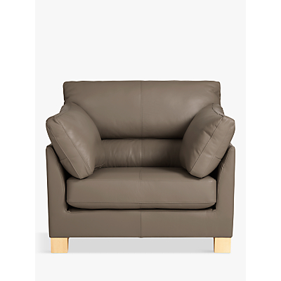 John Lewis & Partners Ikon High Back Leather Armchair, Dark Leg