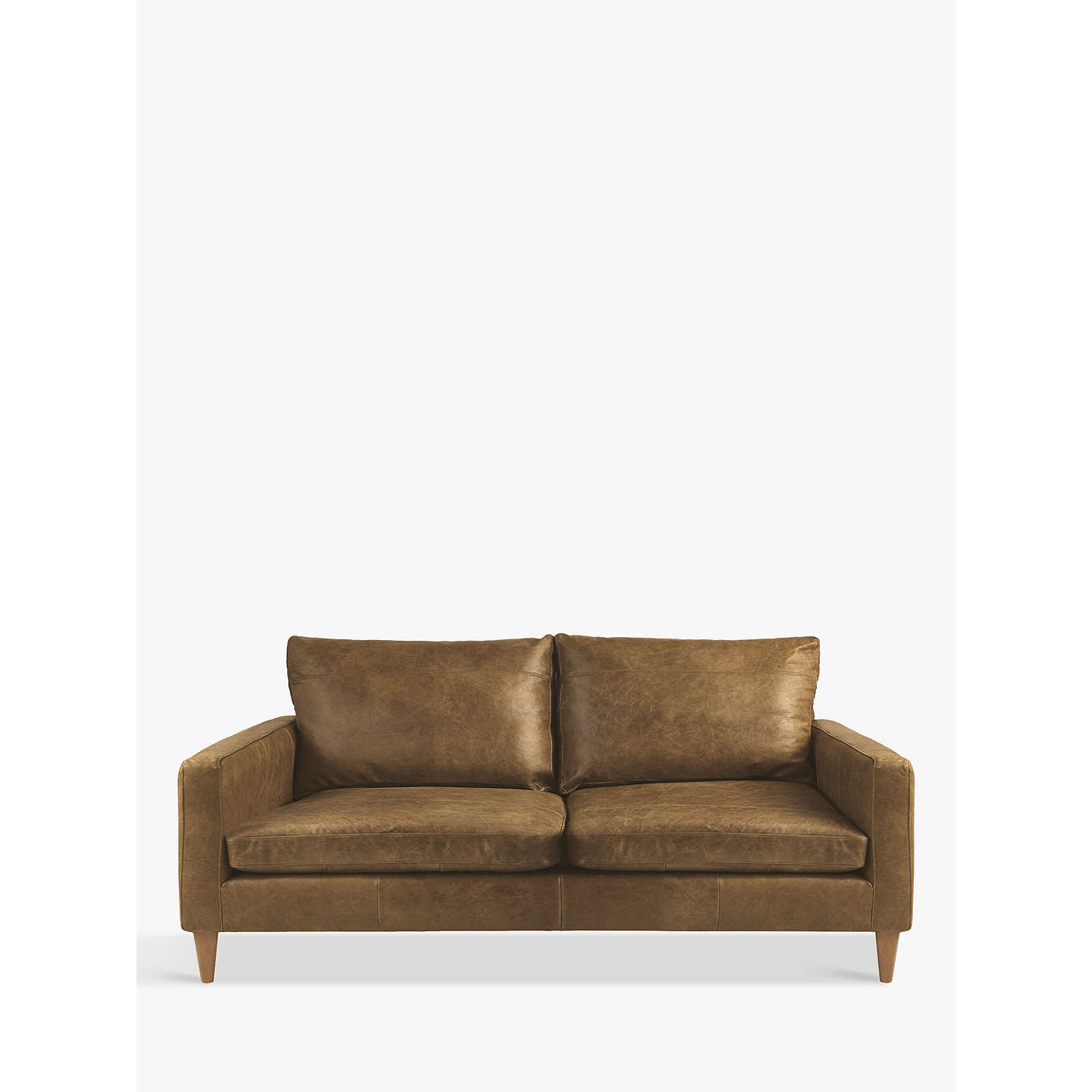 John Lewis Bailey Small 2 Seater Leather Sofa Er Cuccino Online At Johnlewis