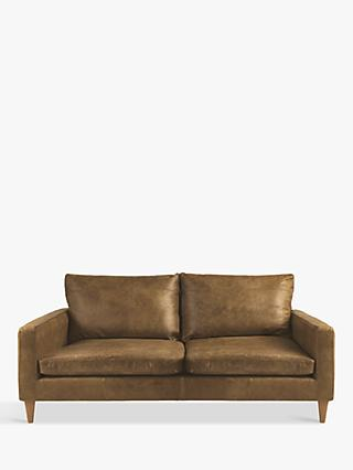 John Lewis & Partners Bailey Small 2 Seater Leather Sofa, Luster Cappuccino