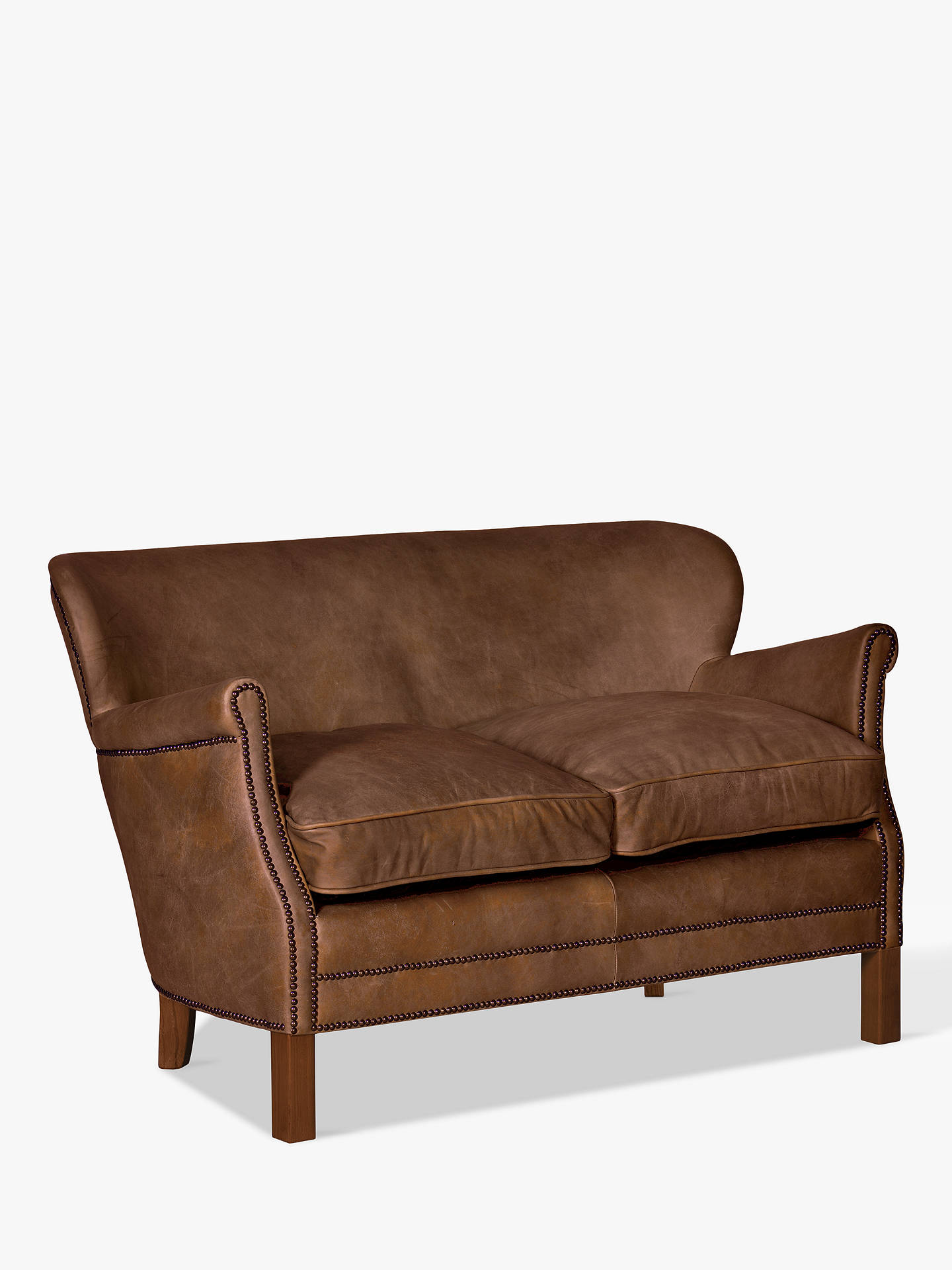Halo Little Professor Petite 2 Seater Leather Sofa, Antique Whisky