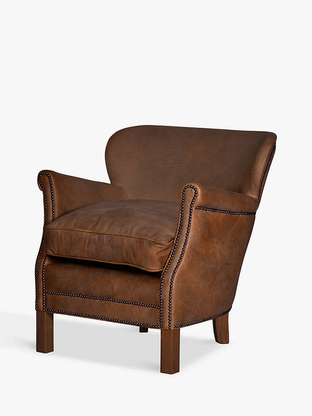 Halo Little Professor Leather Armchair Antique Whisky At John Lewis Partners