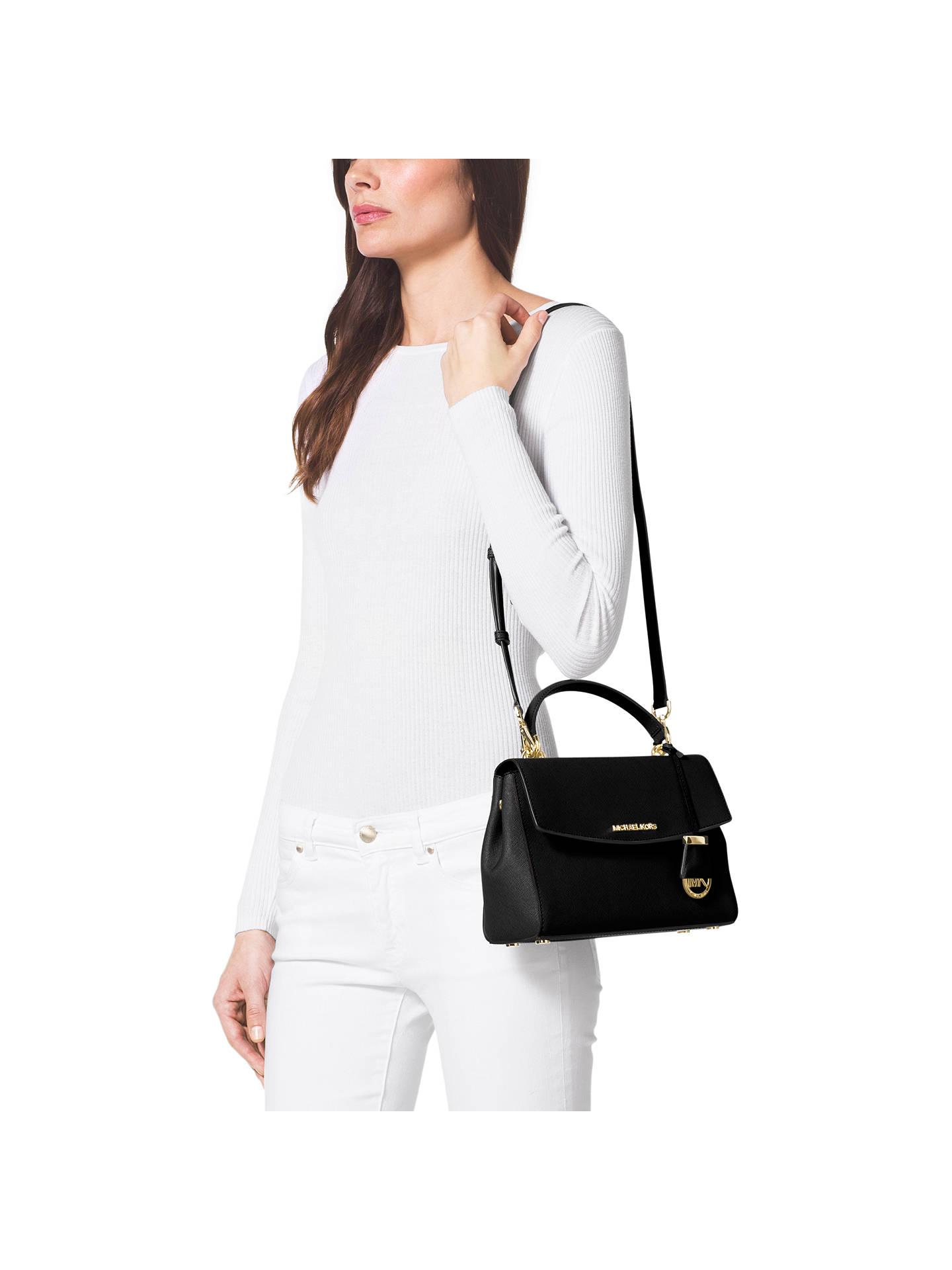 4c3062265ce71e ... Buy MICHAEL Michael Kors Ava Small Leather Satchel, Black Online at  johnlewis.com