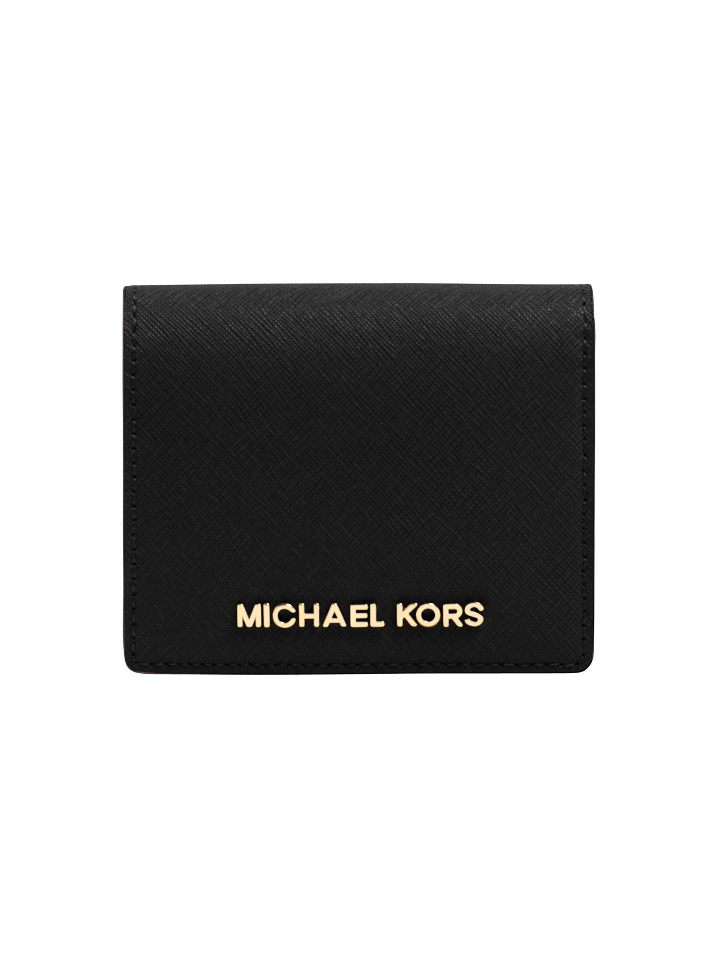 fee94c7a38e8 Buy MICHAEL Michael Kors Jet Set Travel Flapover Leather Card Holder, Black  Online at johnlewis ...