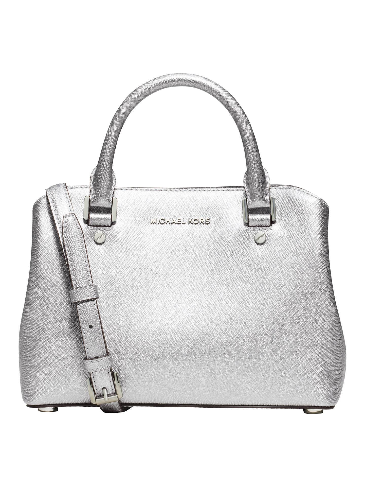42502cfe612c Buy MICHAEL Michael Kors Savannah Small Leather Satchel, Silver Online at  johnlewis.com ...