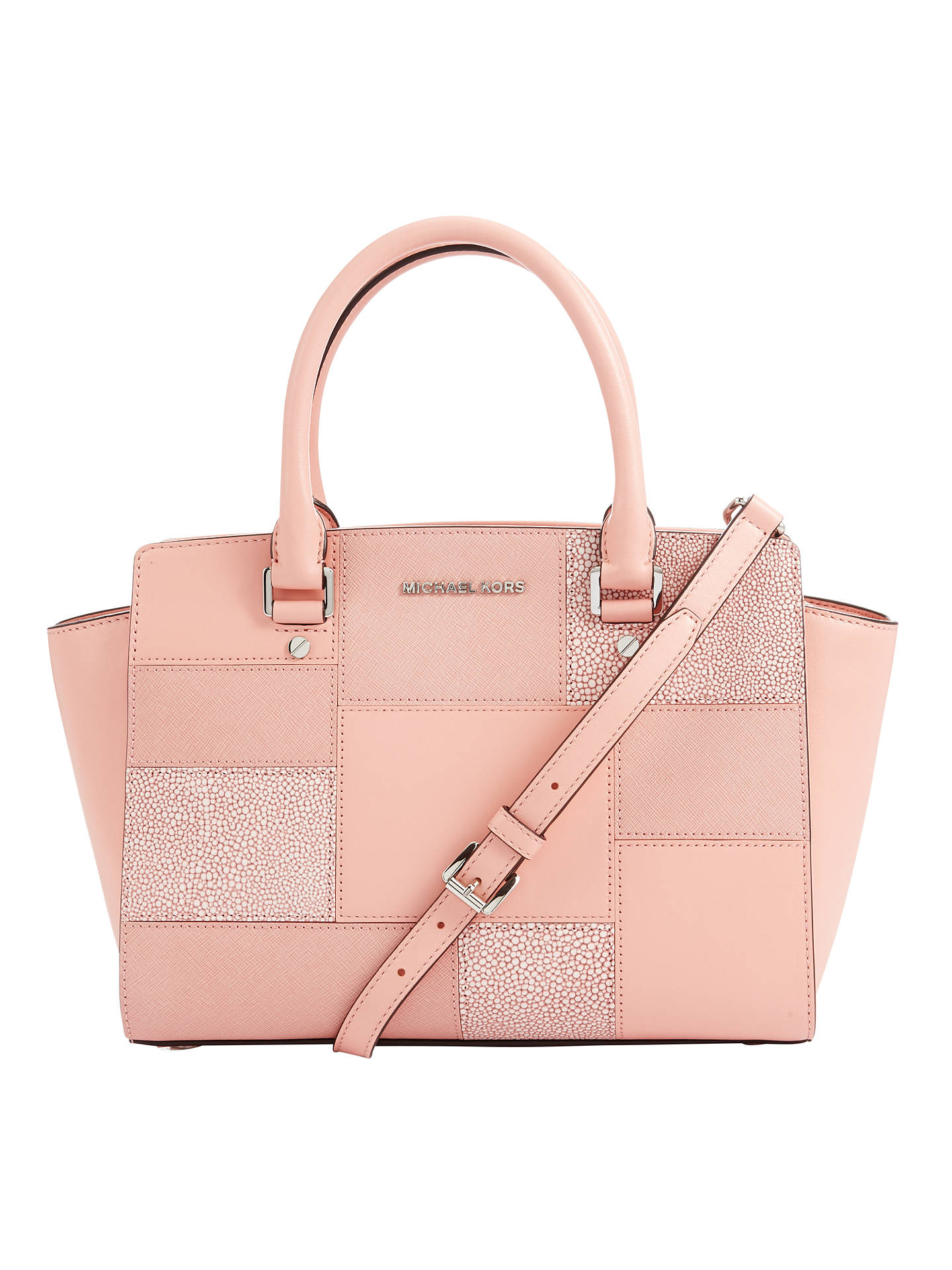 ef69a2f02327 Buy MICHAEL Michael Kors Selma Medium Leather Satchel, Pink Online at  johnlewis.com ...