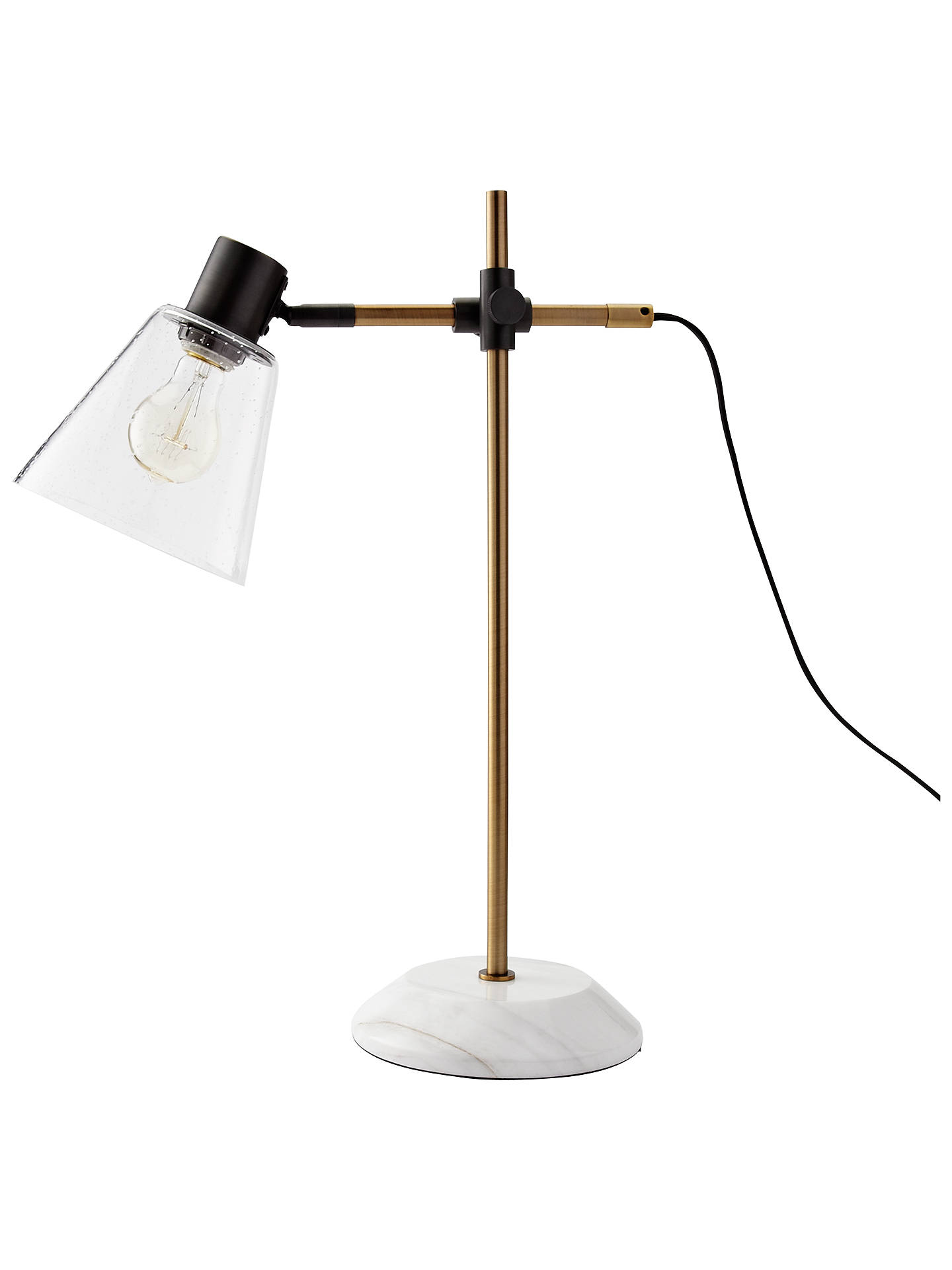 West Elm Factory Task Lamp Antique Bronze Clear Shade At
