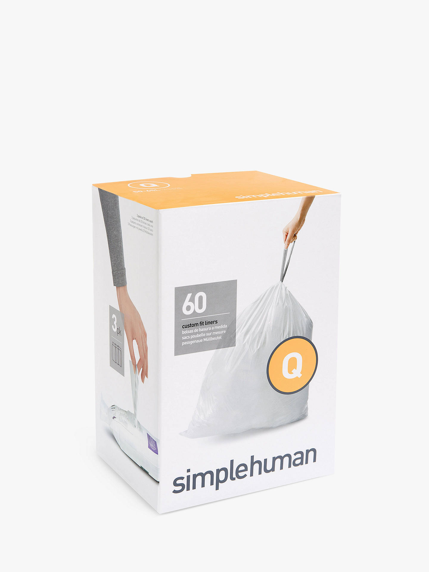 Buysimplehuman Bin Liners, Size Q, Three Packs of 20 Online at johnlewis.com