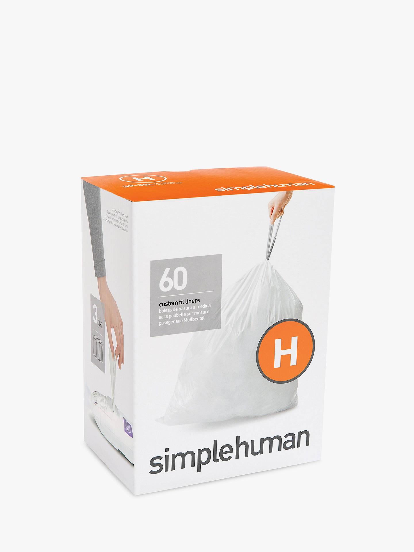 Simplehuman Bin Liners Size H Three Packs Of 20 Online At Johnlewis