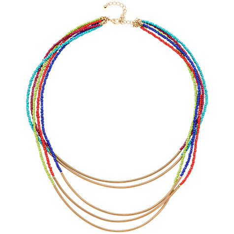 Buy Adele Marie 5 Row Bead and Spring Tube Necklace, Gold/Multi Online at johnlewis.com