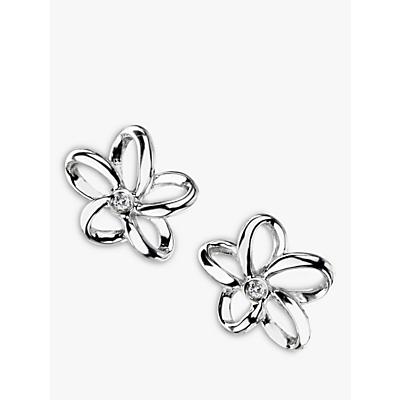 Image of Hot Diamonds Paradise Plumeria Floral Diamond Stud Earrings, Silver
