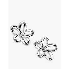 Buy Hot Diamonds Paradise Plumeria Floral Diamond Stud Earrings, Silver Online at johnlewis.com