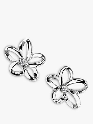 Hot Diamonds Paradise Plumeria Floral Diamond Stud Earrings, Silver